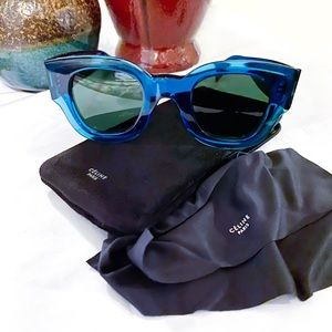 Celine Zoe Petrol Blue Sunglasses & Case